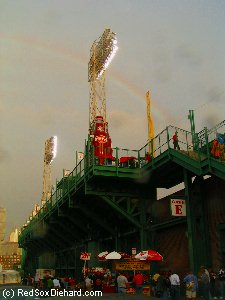 In 2004, a rainbow stretched over the brand-new Green Monster seats which had been built the year before.